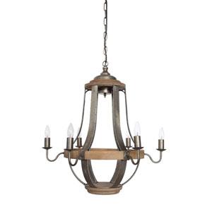 Brown Six-Light Wood and Metal Chandelier