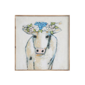 Cow and Flowers 20 In. Wood Wall Décor