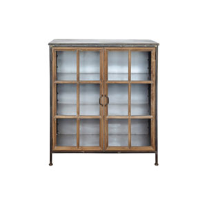 Metal and Wood Cabinet with Two Glass Doors and Three Shelves