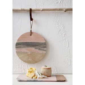 Round Pink Marble and Mango Wood Cheese Board
