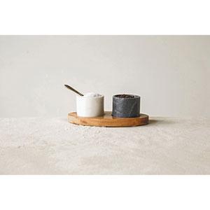 Marble Bowls on Mango Wood Base with Salt Spoon