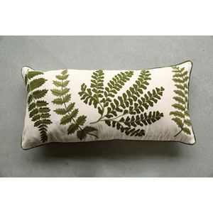 Embroidered and Printed 15 x 32 In. Fern Pillow