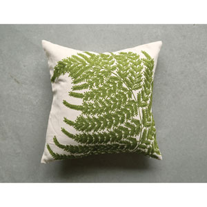 Embroidered and Printed 20 In. Fern Pillow