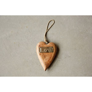 Wood Hanging Heart Ornament