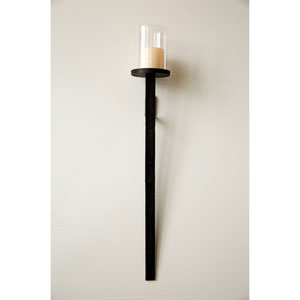 Bronze and Glass 37 In. Wall Pillar Holder