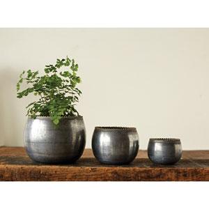 Zinc Round Metal Planters, Set of Three
