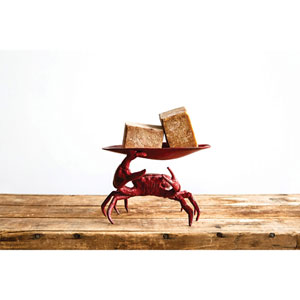 Red Metal Crab Soap Dish