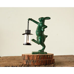 Distressed Green Cast Iron Rabbit Tealight Holder