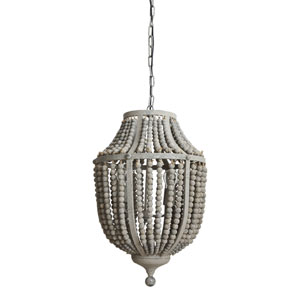 Gray Three-Light Wood and Metal Bead Chandelier