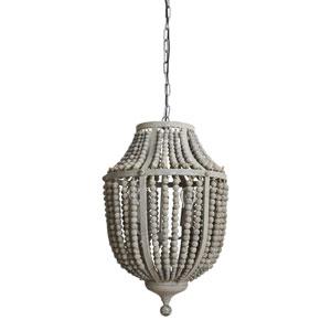 Gray Three-Light Wood and Metal Bead Chandelier