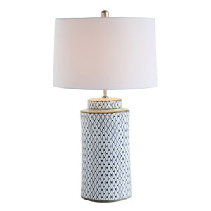 Indigo and White Ceramic Table Lamp