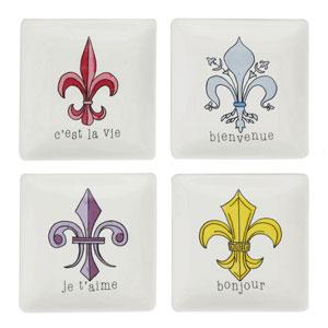 Fleur De Lis Square Plate, Set of Four