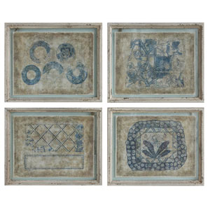 Blue Design Wood Wall Décor, Set of Four