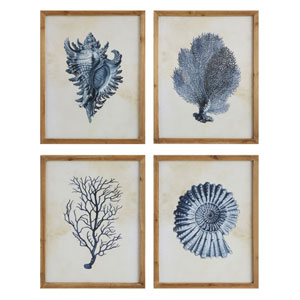 Blue Sea Life Wood Wall Plaque, Set of Four