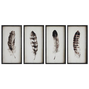 Wood Feather Wall Plaque, Set of Four