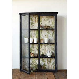 Wood Cabinet Black with Fern Back