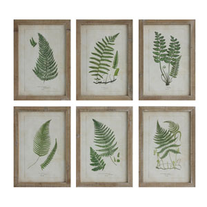 Fern Image Wood Wall Plaque, Set of Six