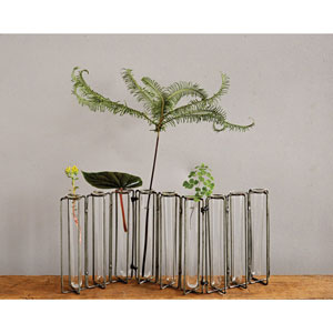 Glass 8.5 In. Vases in Metal Stand