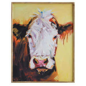 Cow 24 In. Canvas Wall Plaque