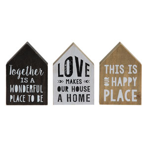 House Shaped Saying on Pine Wood, Set of Three