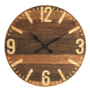 Wood 30 In. Round Clock
