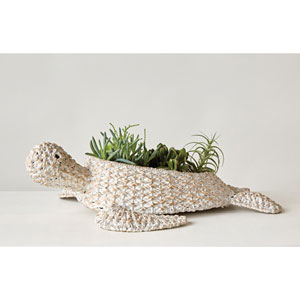Whitewash Braided Bankuan Turtle Basket