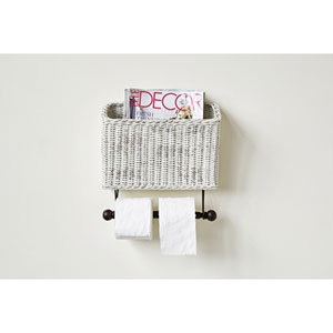 White Wicker Wall Magazine and Toilet Paper Holder