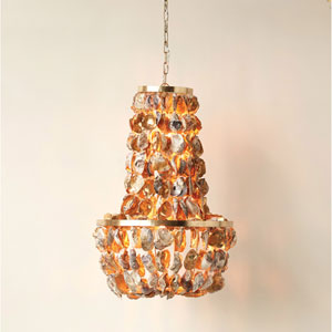 Oyster Shell with Gold Paint Chandelier