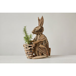 Driftwood Sitting Rabbit with Basket