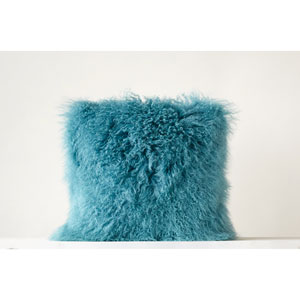 Aqua 20 In. Square Mongolian Lamb Fur Pillow