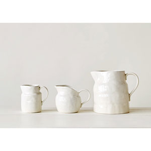 Medium White Vintage Pitcher