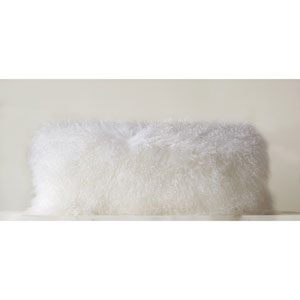 White Mongolian Lamb 32 x 14 In. Fur Pillow