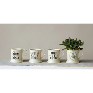 Mug with Saying, Set of Four