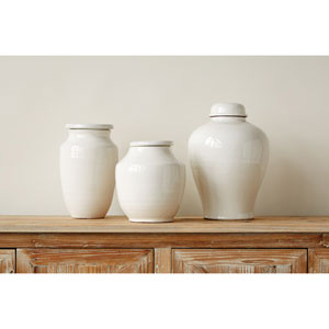 Medium White Round Terracotta Cachepot