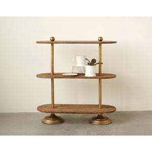 Metal and Wood Three-Tier Shelf