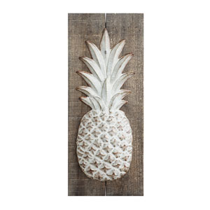 Wood with Metal Embossed Pineapple