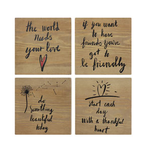 Motivational Block Wall Art, Set of Four