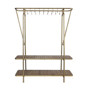 Gold Metal Rack with Eighteen Hooks and Two Shelves