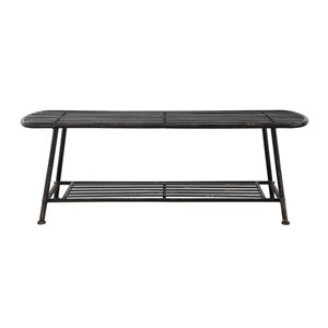 Black Metal Slatted Bench