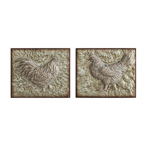 Metal Embossed Rooster and Hen, Set of Two
