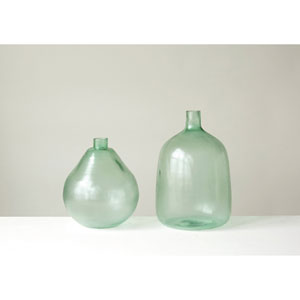 Large Sea Glass Green Round Glass Bottle