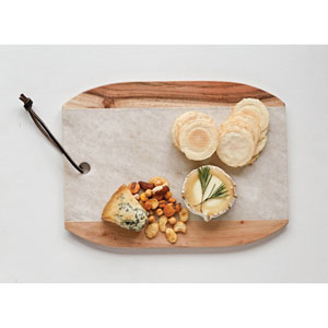 Marble and Mango Wood Cutting Board with Leather Tie