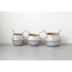 Silver Round Seagrass Collapsible Baskets
