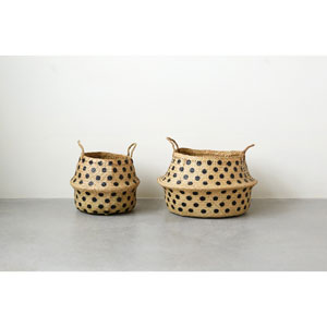 Round Wicker Collapsible Baskets with Dots