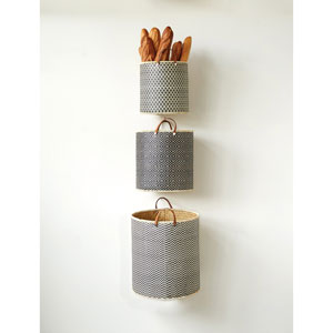 Round Palm Leaf Laundry Basket with Leather Handles, Set of Three