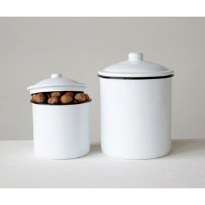 White Enameled Canisters
