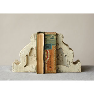 Distressed White Magnesia Corbel Bookends