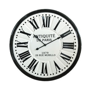 White and Black Round Embossed Metal Wall Clock