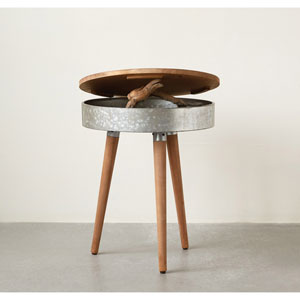 Birchwood and Metal Table with Lid