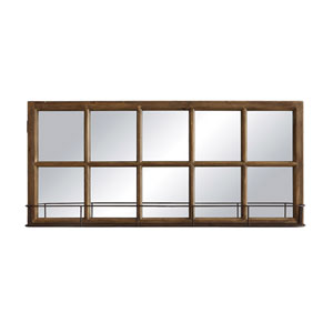 Rectangular Wood and Metal Window Pane Mirror with Shelf